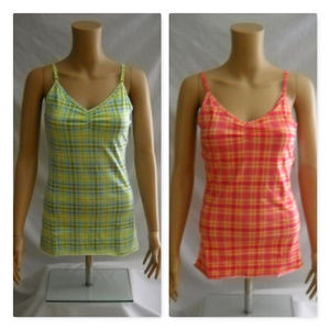 SO 2 Plaid Stretch Tank Cami Tops Juniors Medium